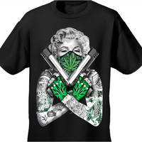 New Arrival Mens Tshirt Weed Bandana Marilyn CROSSED PISTOLS POT LEAF 420 TATTOO