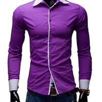 Color Block Panel Long Sleeve Shirt