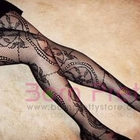 Sexy Running Wheel Punk Floral Pantyhose Tights Leggings 07A