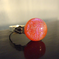 Coral - Red - Pink - Dichroic Fused Glass Ring - Holographic - Ring - Cocktail Ring - Jewelry - Spring 2014