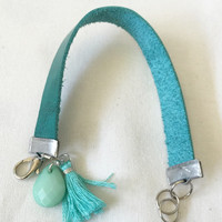 Soft Turquoise Leather Band with Mint Faceted Bead and Turquoise Tassel Size 6-6 3/4 Lobster Clasp in Antique Silver