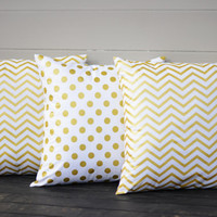 "White and Gold Pillow Covers. Set of Three,  18"" x 18"". Chevron Sofa Pillow Covers. White Gold Polka Dot Toss Pillows. Throw Pillows."