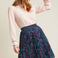 Pleated Chiffon A-Line Skirt in Vines
