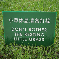 Funny Sign. Cute Keep off the Grass Sign. Lawn Sign. Yard Sign. Chinglish Humor. Resting Little Grass