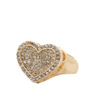 Rhinestone Heart Cocktail Ring by Charlotte Russe - Gold