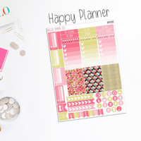 CHARITY DONATION SHEET - 46+ Pink and Gold Weekly Sticker Sheet [EC0082, EC0082-H, HP0080], Erin Condren Stickers, Happy Planner Stickers