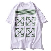 Off White New Fashiion Letter Cross Arrow Print Women Men Top T-Shirt White