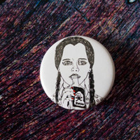 "Wednesday Addams Pinback Button Badge 1.25"" / Horror Halloween Birthday Christmas Gift Hand Drawn Illustration Addams Family Pin Goth"