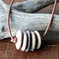 Beach Stone Necklace with natural leather cord