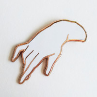 Delicate Hand Enamel Lapel Pin in Rose Gold/White