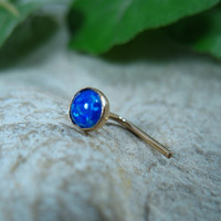 Nose Stud 27 Fire Opal Gold