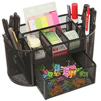 MyGift® Space Saving Black Metal Wire Mesh 8 Compartment Office / School Supply Desktop Organizer Caddy w/ Drawer