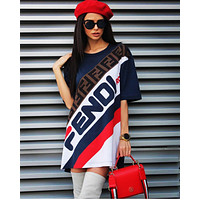 FENDI Summer Classic Hot Sale Women Print Short Sleeve Dress Navy Blue