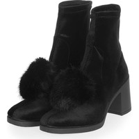 BELLE Furry Pom Boots | Topshop
