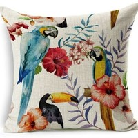 Hyha Plant Cushion Cover Tropic Macaw Decorative Pillow Cover
