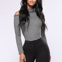 Karine Striped Top - Charcoal