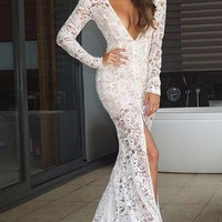 Modern Romance White Nude Lace Long Sleeve Plunge V Neck High Front Slit Maxi Dress