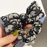 Dior New fashion more letter canvas bow-knot hair ring hair rope women