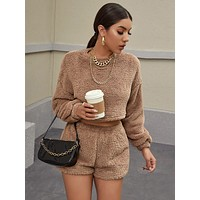 SHEIN Drop Shoulder Crop Teddy Pullover and Shorts Set