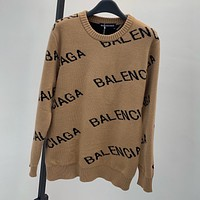 BALENCiAGA Men's and Women's Knitted Letters Round Neck Long Sleeve Sweater