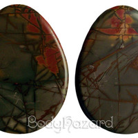 """Multi-Coloured Picasso Jasper Stone Teardrop Plugs 34mm (1 1/3"""") for Stretched Ears Piercings Handmade - Ready to Ship"""