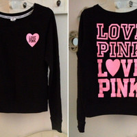 VICTORIA'S SECRET PINK BLACK CREW NECK SWEAT SHIRT LARGE L LOVE NEON PULLOVER VS