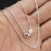"""5Pcs Wholesale 16-30""""Jewelry Lot 925 Silver """"Water Wave"""" Chain Necklace Pendant"""