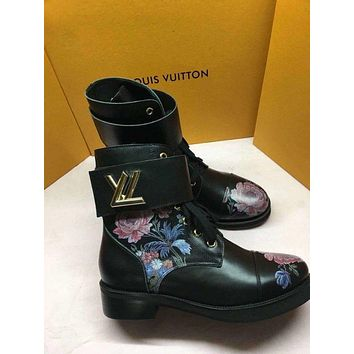 lv louis vuitton trending womens men leather side zip lace up ankle boots shoes high boots 223