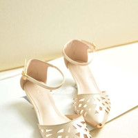 Beige or Red T Bar Hollow Out Strap Pointed Heels