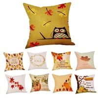 2018Hot Sale Fashion Plush Happy Fall Thanksgiving Day Linen Turkey Pillow Case Cushion Cover Home Decor Pillow Cover@40