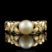 Pearl Ring with Fancy Flower & Open Swirl Design Mounting in 14K Yellow Gold