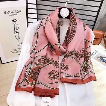 Spring Summer Women Temperament Fashion Double-Sided Letter Animal Print Spell Color Stripe Silk Scarf Shawl