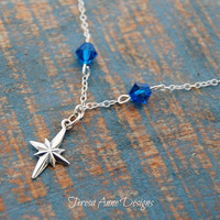 Sterling Silver North Star Necklace with Swarovski Crystal Detail, Celestial Astronomy Jewelry