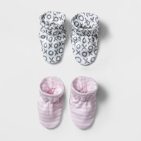 Baby Girls' 2pk Bootie Set Cloud Island™ - Pink/Gray