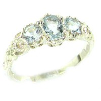 Ladies Solid 14K White Gold Natural Aquamarine English Victorian Trilogy Ring - Size 6.25 - Finger Sizes 5 to 12 Available - Perfect Birthday, Anniversary, Engagement, Wedding, Graduation Gift For Her, Mom, Mother, Wife, Daughter, Granddaughter, Grandmothe
