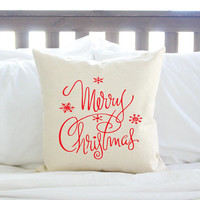 "Christmas Decor ""Merry Christmas"" Pillow - Red, Green or Gold"
