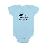 Baby Bodysuit - BOY noise with dirt on it  - Lt Blue -  Infant Kids Toddler Onesuit Childrens Clothing  4 Colors and Sizes