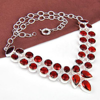 N0535 Free Shipping High Quality Fashion necklace for party garnet stone Silver Necklace Crystal Jewelry