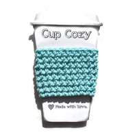 Crochet Cup Cozy, Ice Blue Cup Cozie, Bottle Cozie, Travel Mug Sleeve, Can Koozie, Cool Cozie, Coffee Lover Gift, Tea Lover Gift