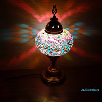 Decorative colourful authentic glass mosaic unique Turkish style table lamp, bedside lamp, bedroom night lamp, night light, kid's room lamp.