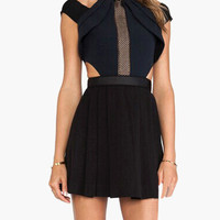 Black Side Cut-Out Pleated Mini Dress