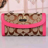 Perfect COACH Women Fashion Leather Buckle Wallet Purse