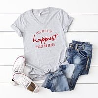 Take Me to the Happiest Place On Earth | V-Neck Graphic Tee