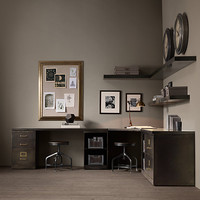 1940s Industrial Modular Office Double Corner Desk System