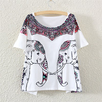 White Short Sleeve Red Double Elephant Print T-Shirt