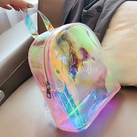 Louis Vuitton LV KEEPALL beach backpack jelly bag Monogram print jelly transparent material