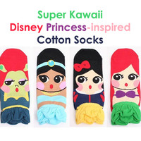 Disney Princess Cute Cotton Socks Set (4 pairs)