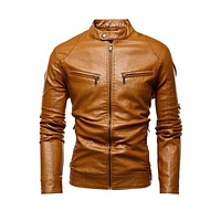 Jacket Men New Slim Retro Winter Jackets Male PU Leather Stand Collar Sportswear Suits Mens Bomber Coat