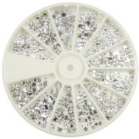 Premium Quality Wheel of 1200 Nail Art Decorations With Silver Gems / Rhinestones / Crystals In Different Shapes By VAGA