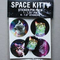 Space Kitty Sticker and Pin Pack